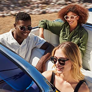 People wearing sunglasses driving in a convertible car multiple styles mens sunglasses polarized