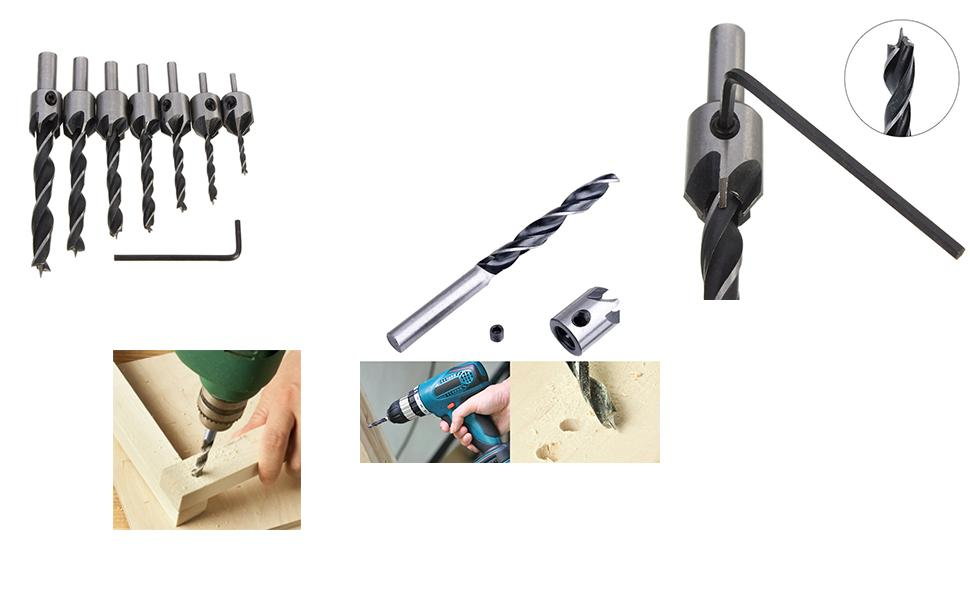 8 Pcs Woodworking Countersink Drill Bits Set