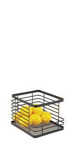Stackable Black Metal Wire Kitchen Pantry Storage Basket with Open Front Containing Yellow Lemons