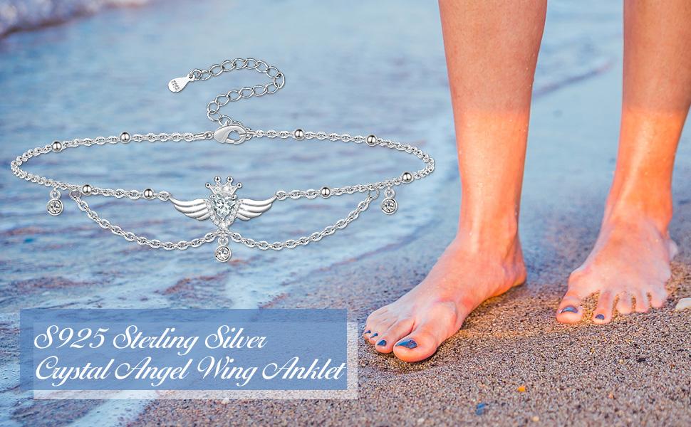 Crystal Heart Angel Anklet