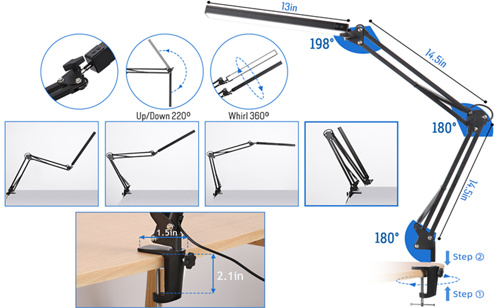 Swing Arm Desk Lamp with Clamp