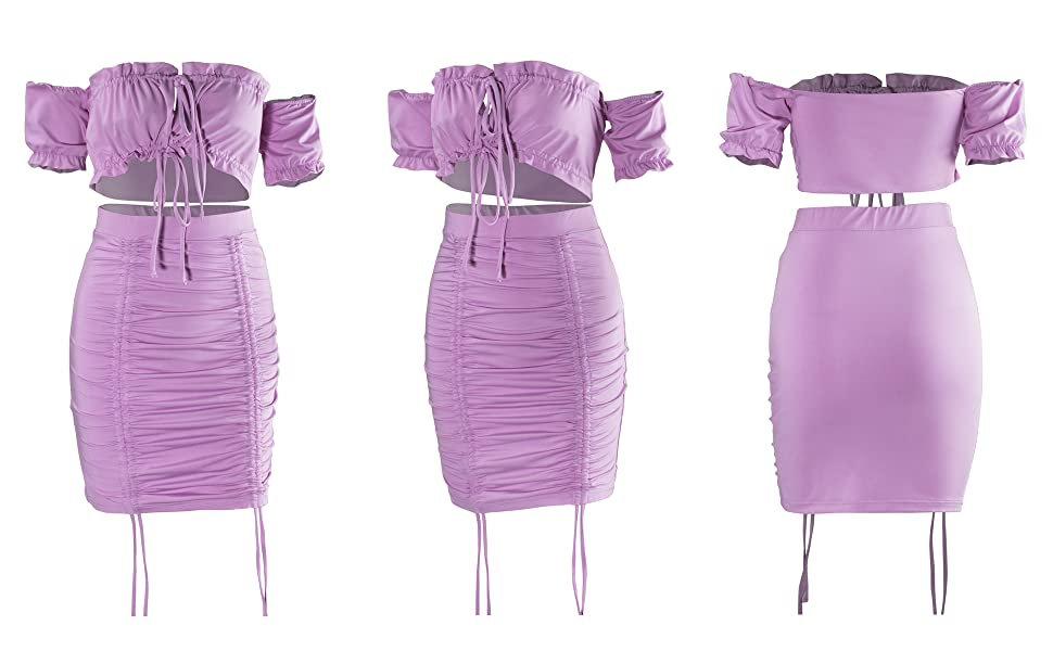 women 2 piece ruched dresses