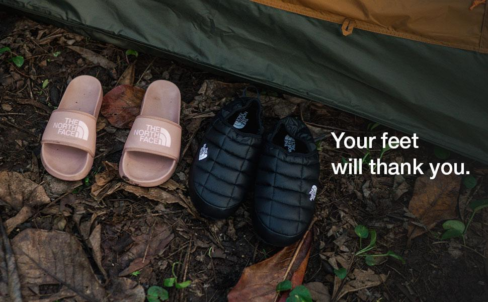 Sandals, slides and hiking boots so you can adventure with The North Face.