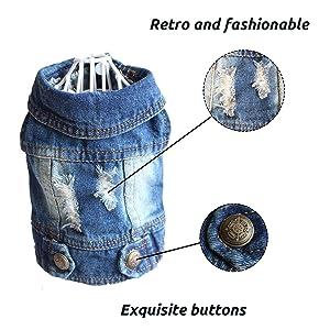 BLUE Turndown Collar jean vest