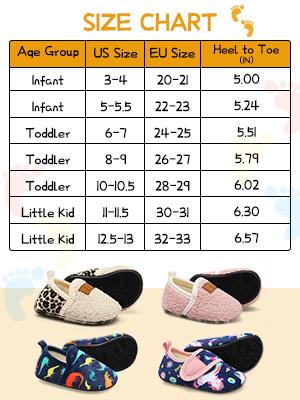 kids slipper size chart