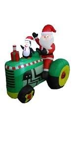 5.3 Foot Tall Christmas Inflatable Santa Claus Drive Tractor with Penguin