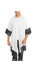 Mens Ruffle Shawl Collar Cotton Cardigan Long Kimono Jackets