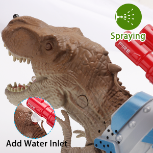 The realistic toy dinosaur TREX is spraying cool mist