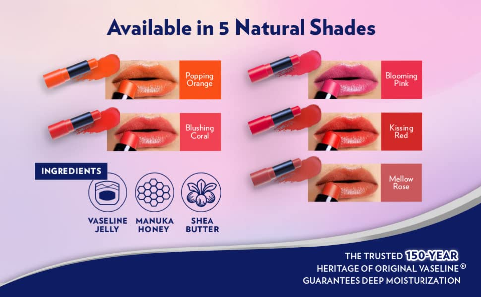 5 Natural Shades: Popping Orange, Blushing Coral, Blooming Pink, Kissing Red, Mellow Rose