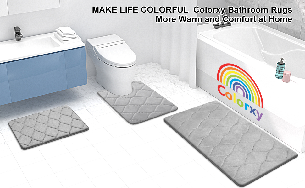 Colorxy Memory Foam Bathroom Rug Mat