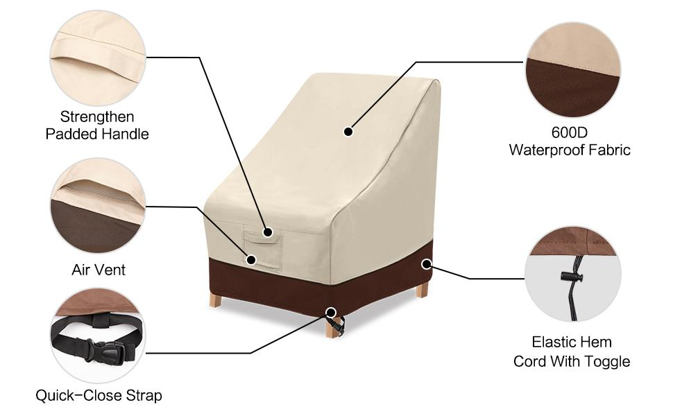 high back chair cover feature