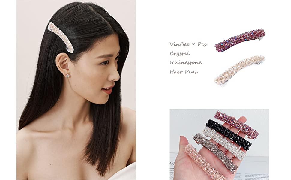 VinBee 7 Pcs Hair Clips Crystal Rhinestone Fashion Hair Pins