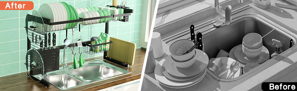 Premium durable metal Countertop Organizer Kitchen Space Saver dish drying rack over the sink