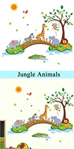 forest animals jungle trees wall stickers baby nursery decor kids room