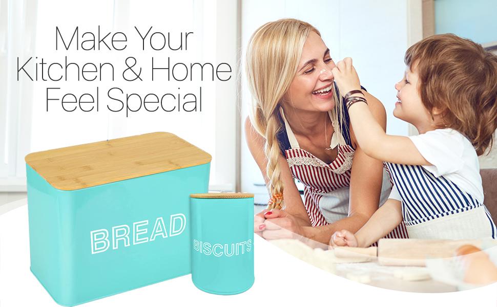 Modern Metal Bread Storage farmhouse kitchen bin bamboo cutting board lid biscuit tin loaf mint