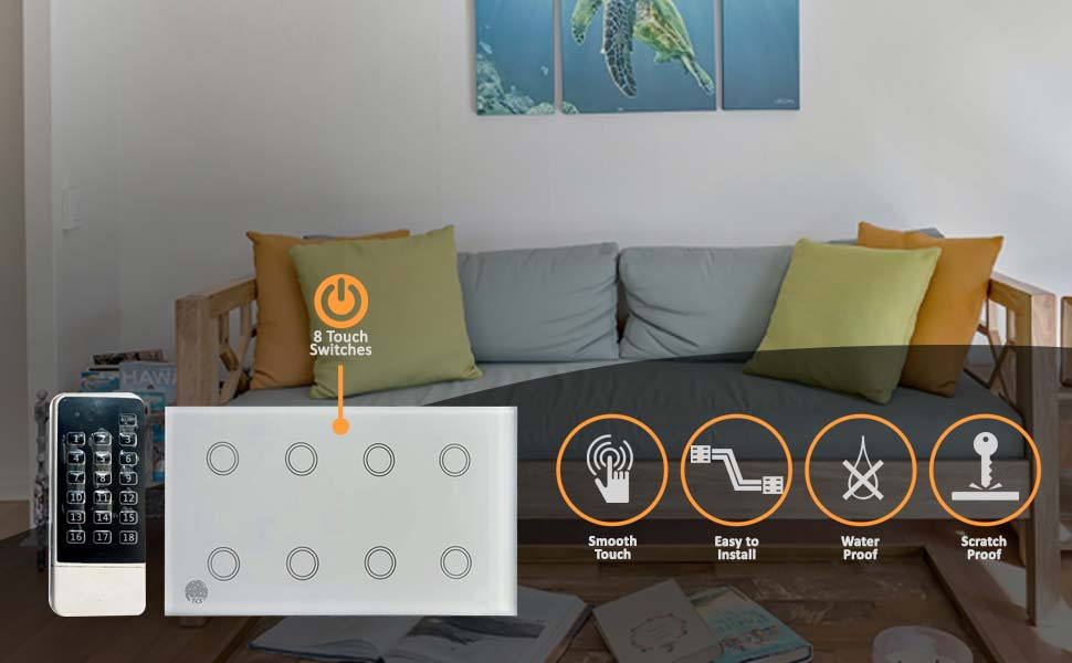 8 Gang Touch Smart Switch With Remote