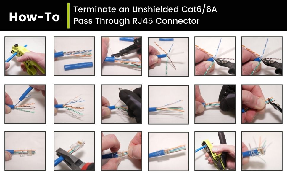 How to terminate a Cat6/6A Pass through connector
