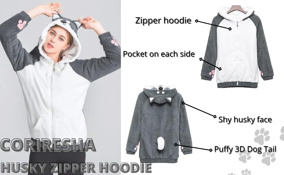 coriresha husky dog zipper hoodie