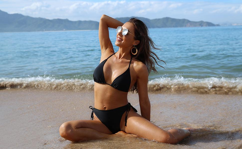 Halter Padded Top Tie Side Bottom Triangle Bikini