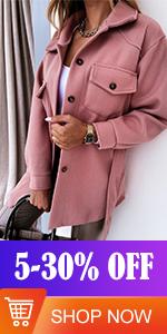 FARYSAYS Womens Single Breasted Shacket Jacket Mid Length Trench Pea Coat Outwear