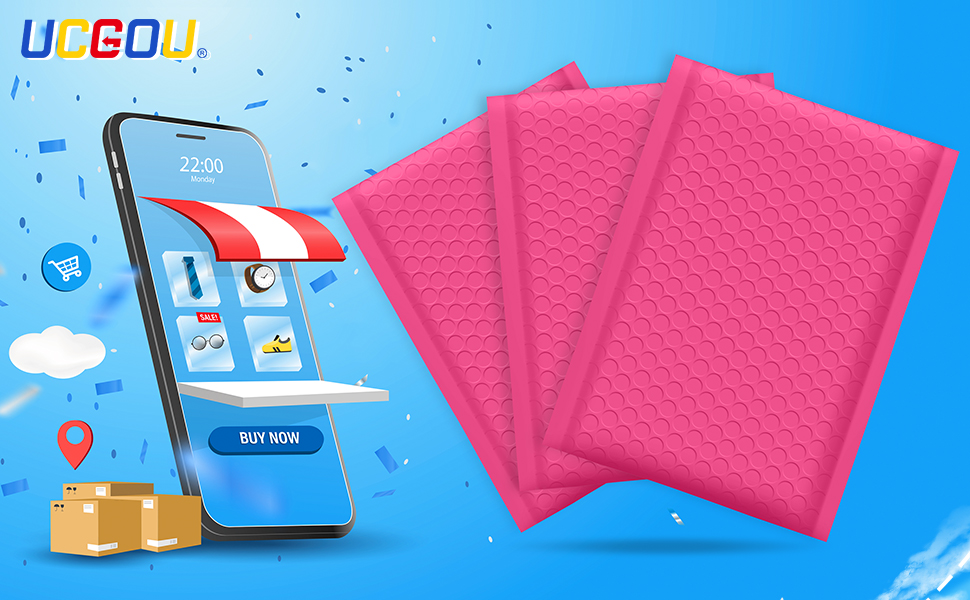 hot pink bubble mailers