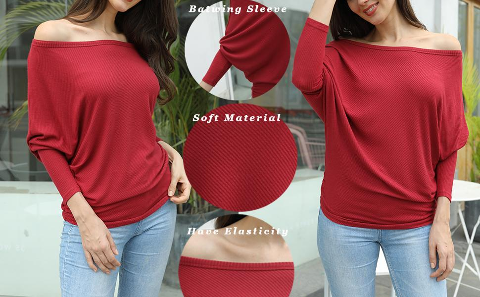 Women Pullover Shirt Ladies One Shoulder Long Sleeve Solid Jumpers Top Blouse