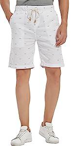 Mens Linen Short Casual Drawstring Summer Beach Floral Shorts for Men