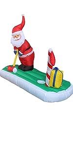 5 Foot Long Christmas Inflatable Santa Claus Play Golf Yard Decoration