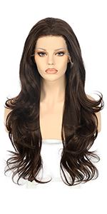 Brown Long wave synthetic lace front wig