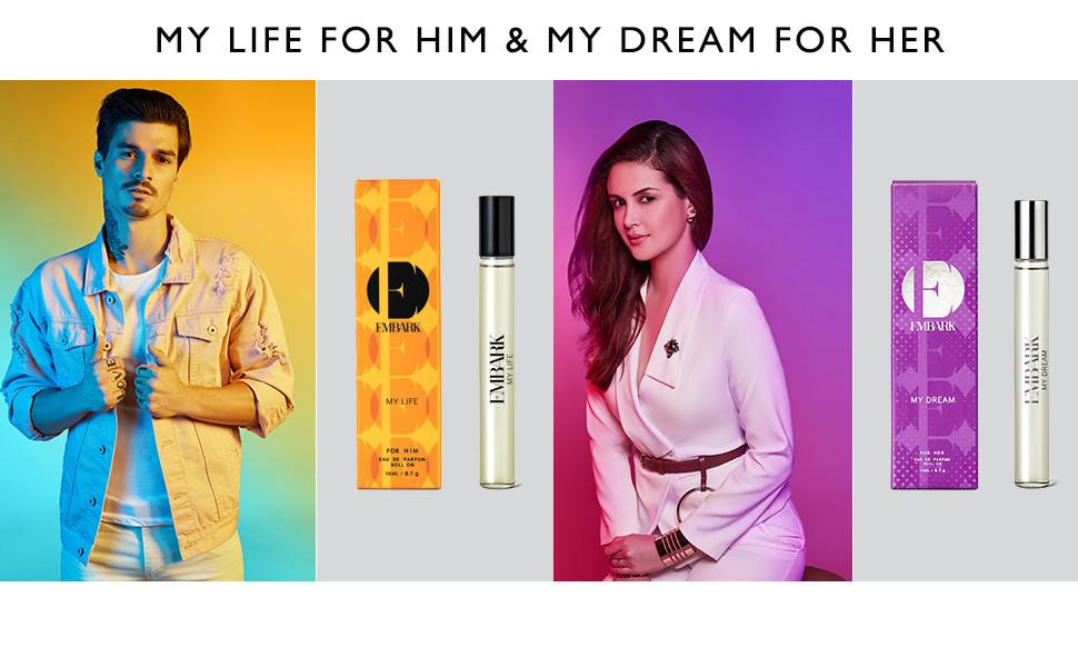 My Life for him and My Dream for Her 10ml Perfume Travel Pocket Size