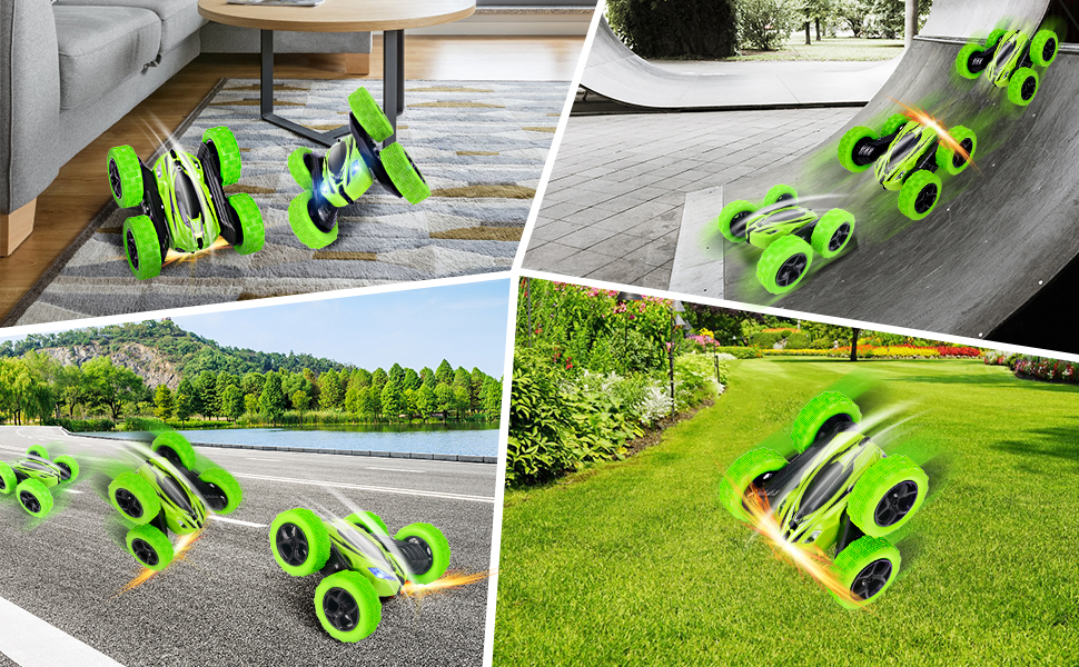 All-terrain remote control stunt car, which can be driven indoors and outdoors in various terrains