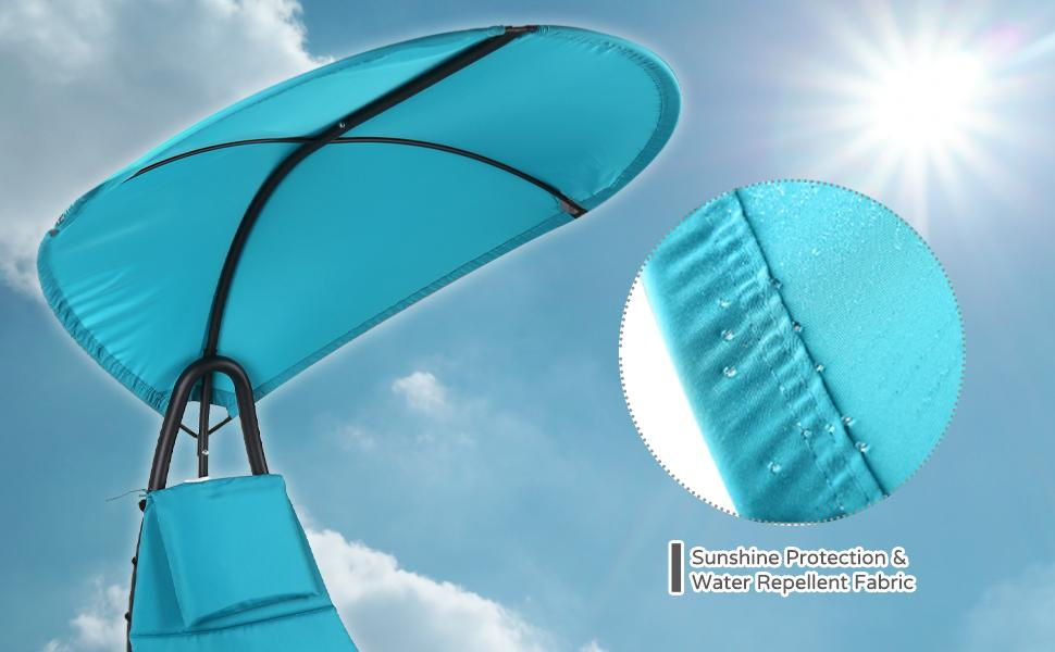 Patio Hammock Lounger Water proof Canopy  Stand Anti-UV Garden Chaise Porch Poolside Chair Cushion