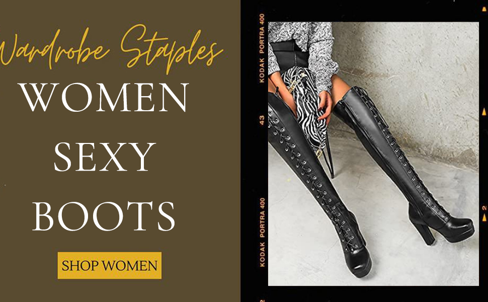 Women Lace Up Platform Over The Knee Boots Motorcycle Side Zipper Block High Heel Thigh High Boots