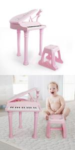 keyboard piano toys 31 keys pink