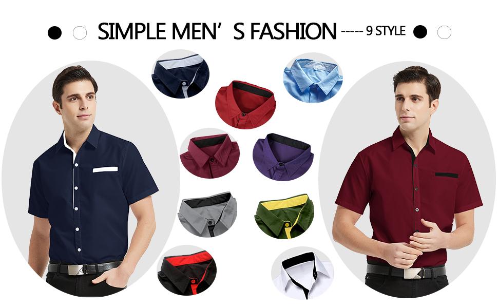 men short sleeve dress shirt-9 style