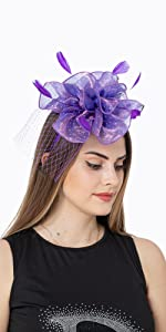 Fascinators Hat Flower Feather Kentucky Derby Tea Party Headwear with Hair Clip and Hairband