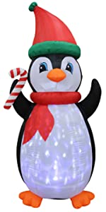 7 Foot Tall Christmas Inflatable Penguins with Twinkle Lights Yard Decoration