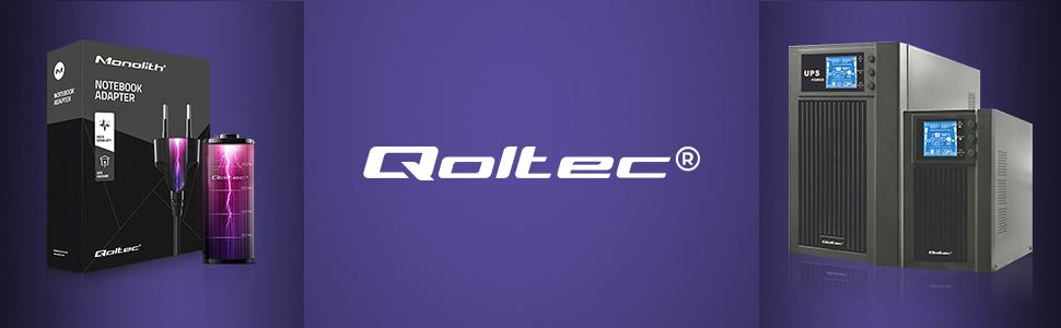 W centum logo Qoltec, po lewej opakowanie na zasilacz sieciowy, po prawej dwa zasilacze UPS