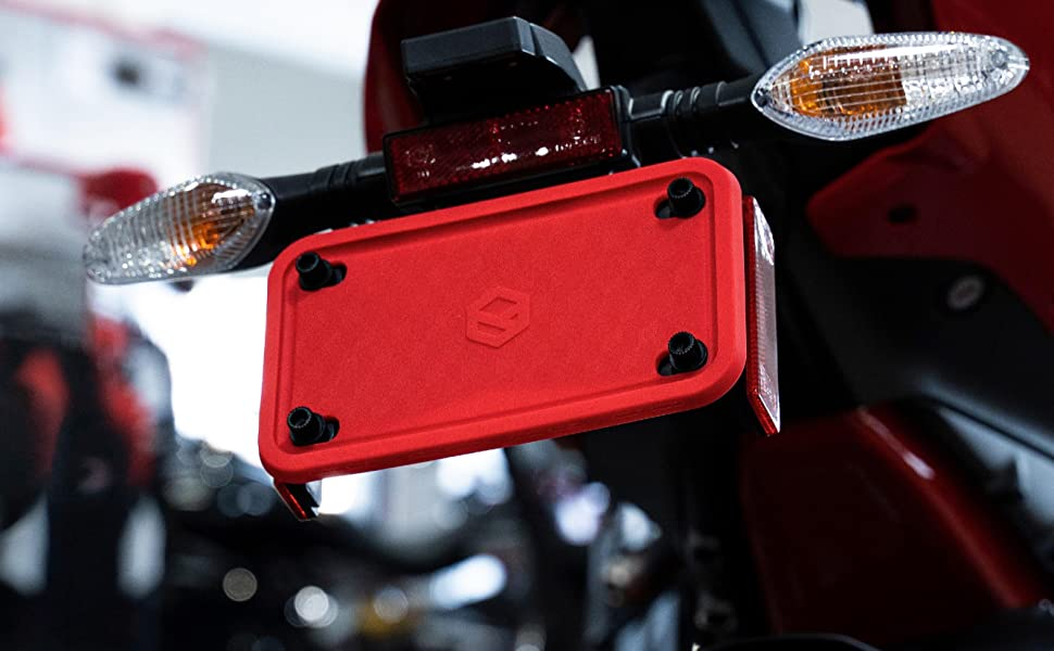 Red Motorcycle License Plate Frame