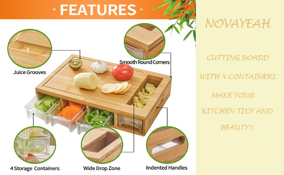 cutting board with 4 containers