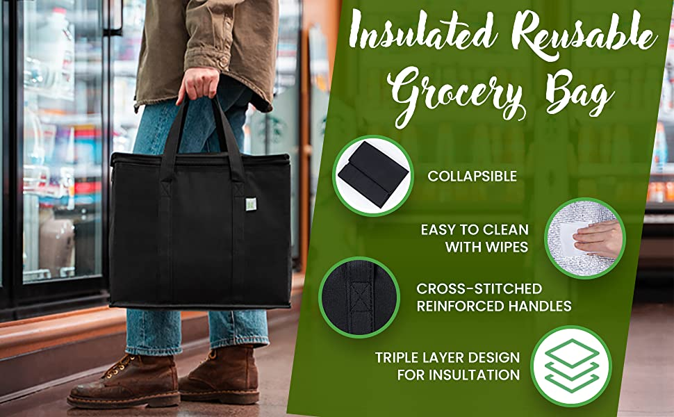 VENO Insulated Reusable grocery bag is collapsible, easy to clean with wipes, insulation