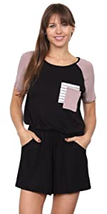 éloges Raglan Short Sleeve Romper with Double Chest Pockets… B08R7VY35S