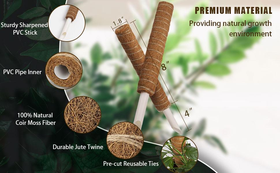 LONG-LASTING MATERIAL:Coconut Coco Coir Totem plant support stakes plant trellis