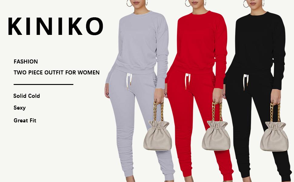 KINIKO Women's Fashion New Two Pieces Sweatsuit Set