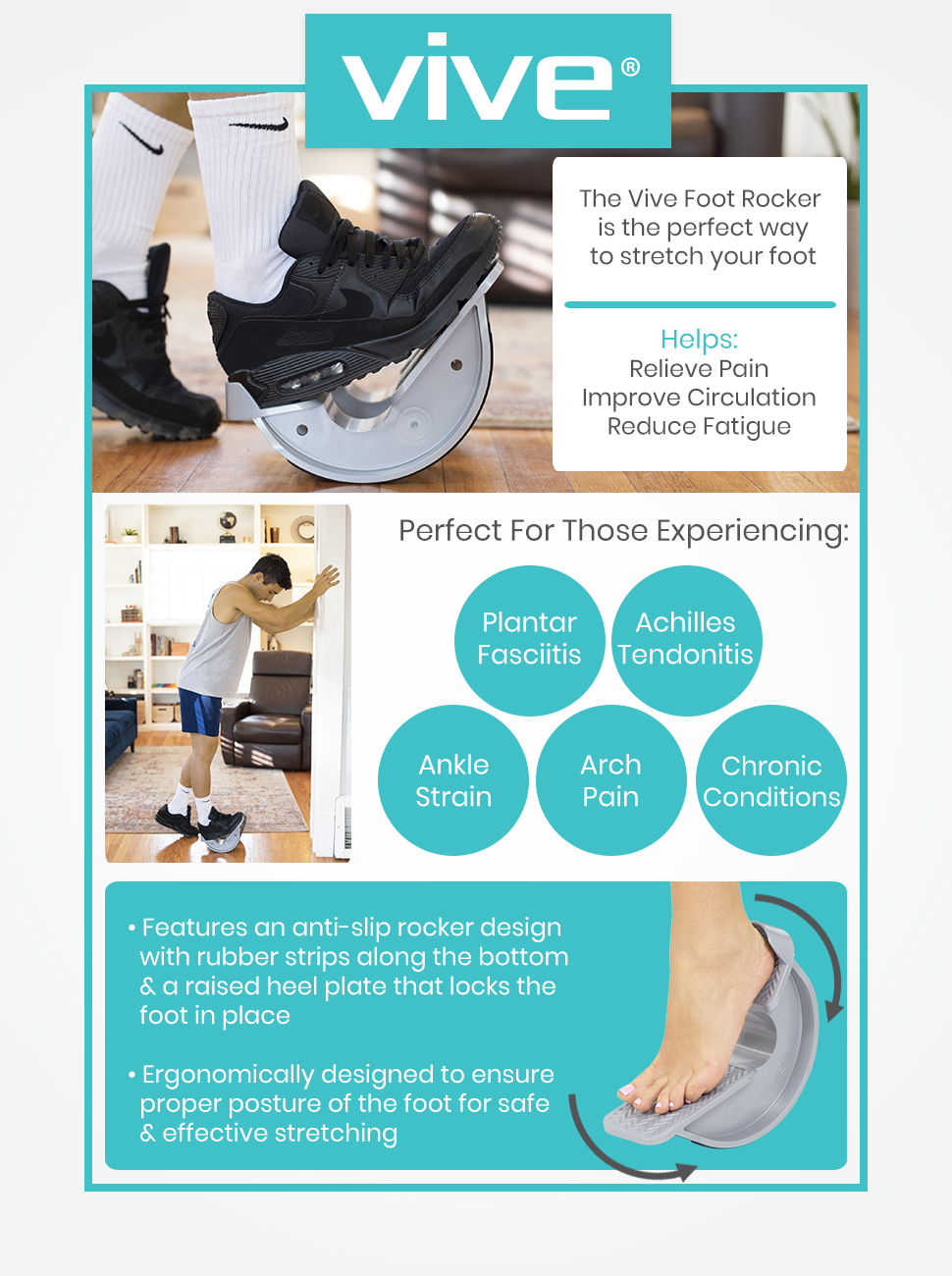 Vive Foot Rocker - Calf Stretcher for Achilles Tendinitis, Heel, Feet, Shin Splint, Plantar