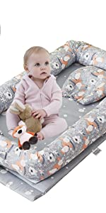 fox floral baby nest bed grey bassinet bed co sleeping sharing bed