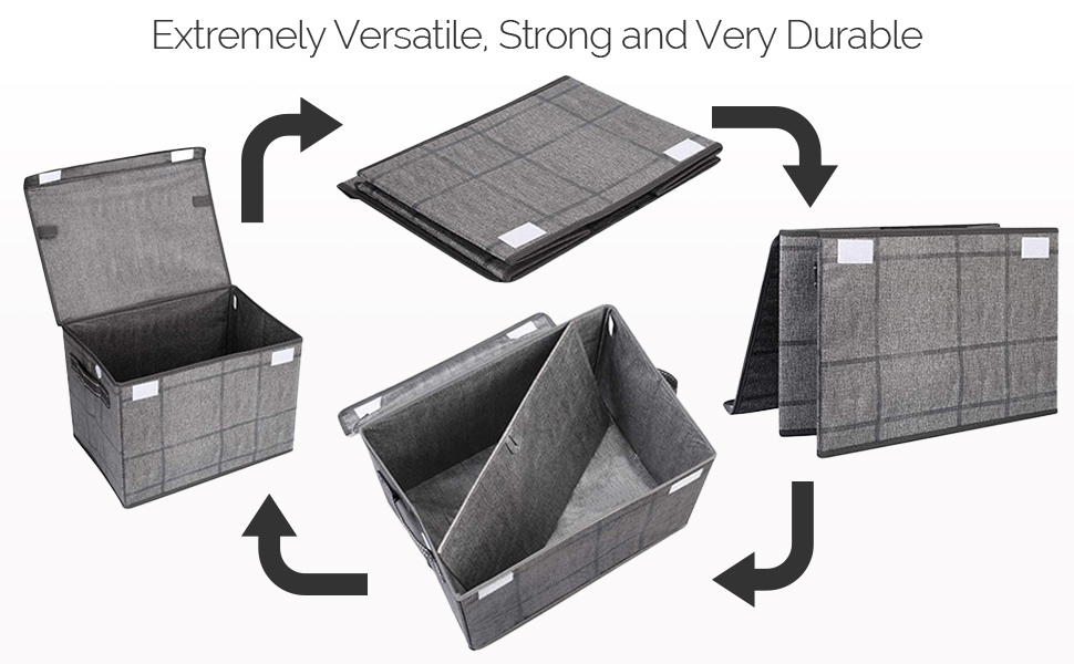 VENO collapsible storage bins are strong and durable, storage basket with lid, baskets for shelves