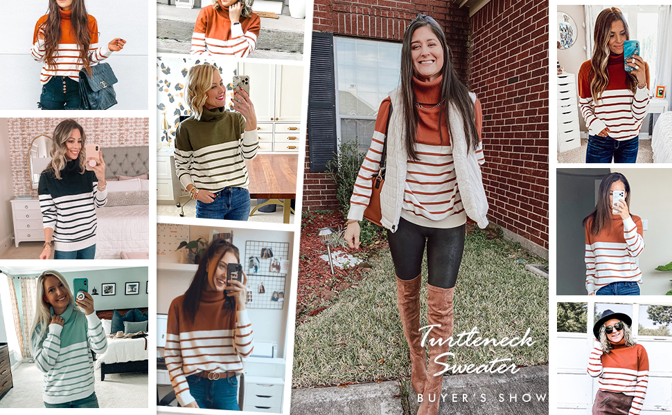 Women Turtleneck Knit Sweater Long Sleeve Striped Color Block Patchwork Ribbed Pullover Jumper Top