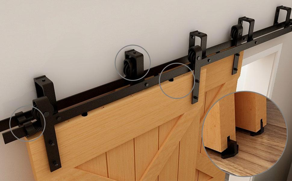 Bypass Barn Door Hardware Kit Double Track  Low Ceiling Heavy Duty space save
