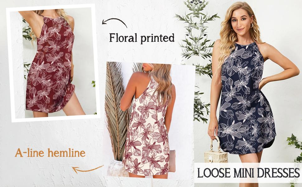 floral printed loose mini dress